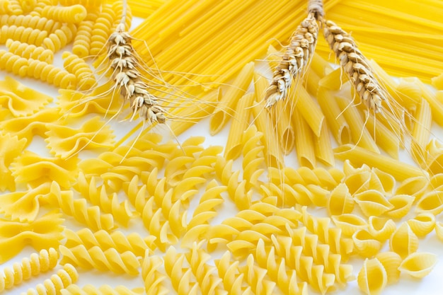 Pasta and three spikelets of wheat closeup