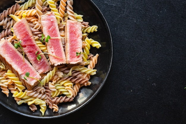 Pasta tuna fusilli pasta roasted fish fried grilled seafood second course meal