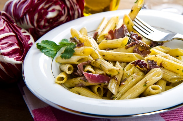 Pasta with chicory