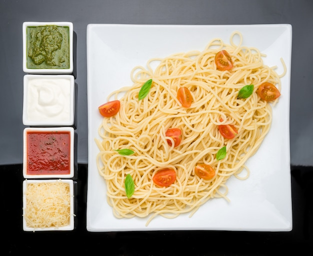 Pasta with different kinds of sauce