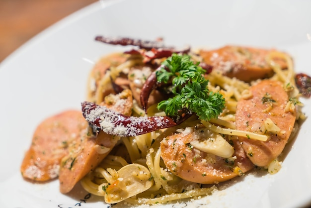 Pasta with germany sausage