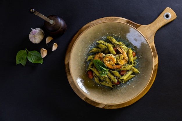 Pasta with prawn in homemade pesto sauce