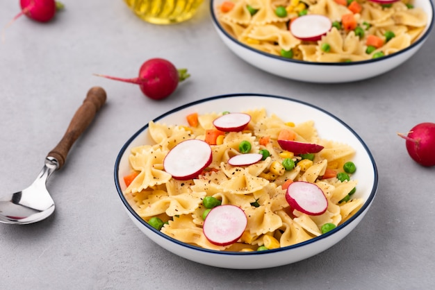 Pasta with vegetable food background
