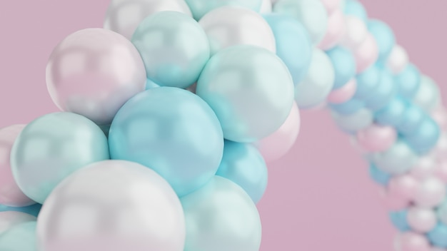 Pastel balloon arch with pink wall