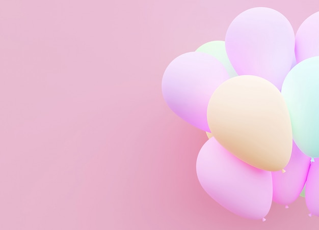 Pastel balloon background 3d rendering.