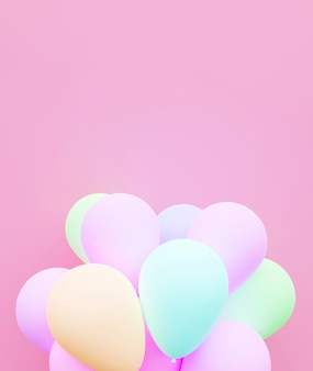Pastel balloon background love 3d rendering.
