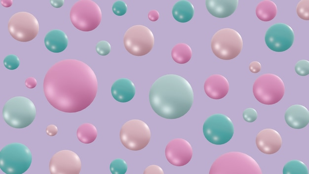 Pastel balls floating in the air colorful bubbles on purple background festive concept 3d