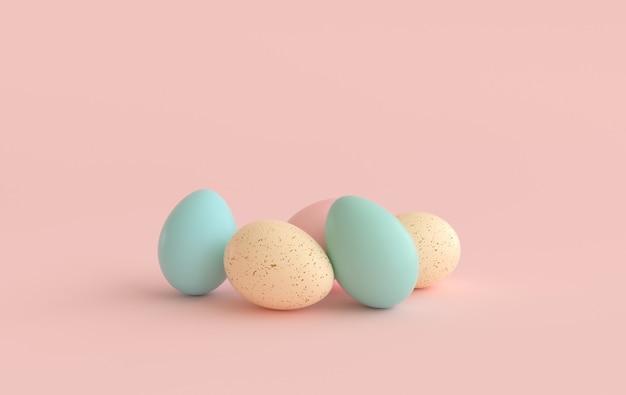 분홍색에 파스텔 베이지 색, 분홍색 및 녹색 부활절 달걀.