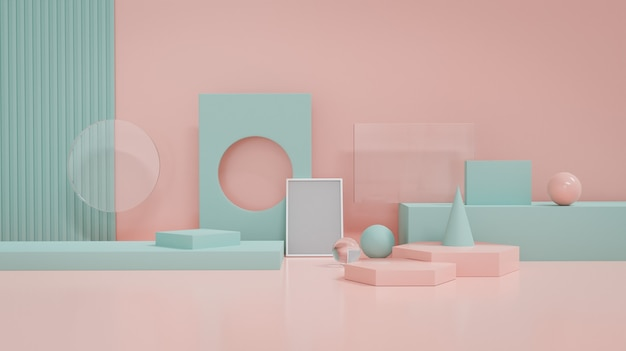 パステルブルーとピンクのジオメトリは、製品ディスプレイプラットフォームのオブジェクトの装飾を形作ります。 3dレンダリング。