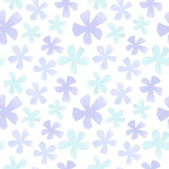 흰색 바탕에 파스텔 블루 꽃 원활한 패턴입니다.