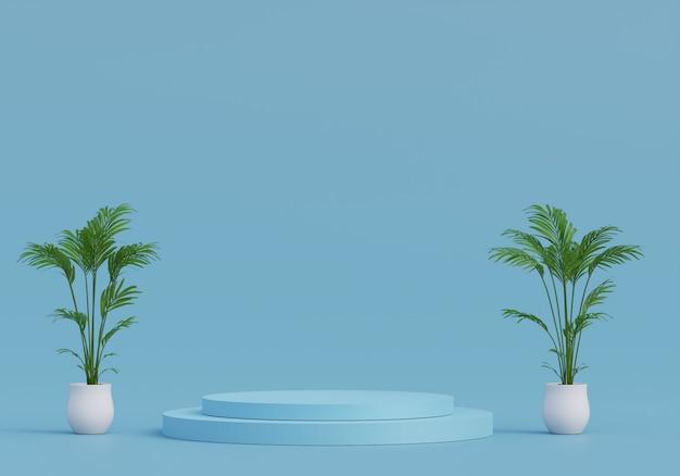 디스플레이를위한 파스텔 블루 받침대. 기하학적 형태의 빈 제품 스탠드. 3d 렌더링