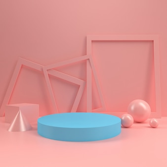 Pastel booth podium circle stage display table template mock up minimal wood wall composition 3d rendering