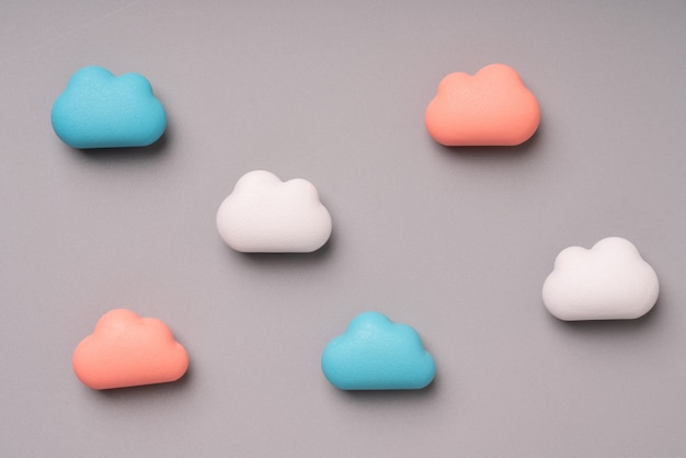 Pastel cloud technology on colorful and creative background for global business concept