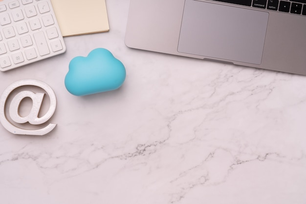 Pastel cloud technology on colorful & creative background for global business concept
