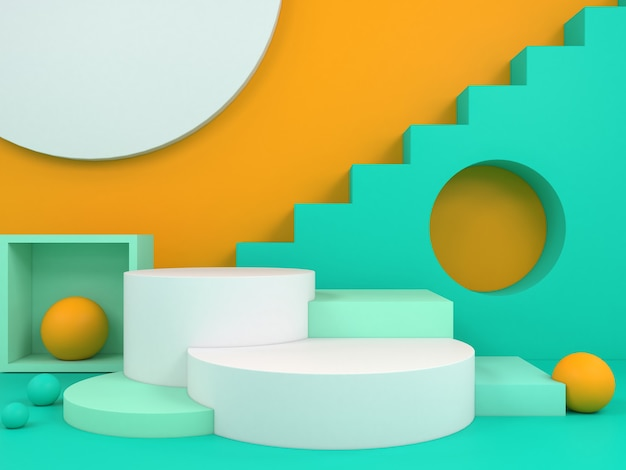 Pastel color abstract geometric podium background for branding and product presentation 3d rendering
