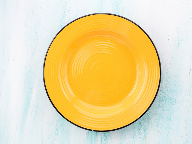 Pastel color ceramic plate dish top view