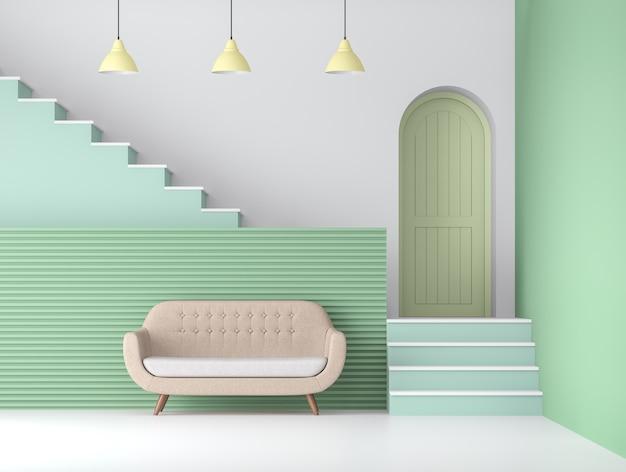 3d визуализация гостиной пастельных тонов, белый пол, зеленые стены и дверь, украшенная желтым подвесным светильником, со светло-коричневым тканевым диваном.