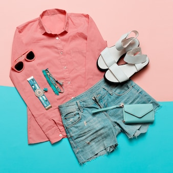 Pastel color trend wallet and summer accessories