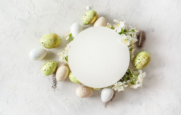 Pastel colored easter eggs and spring blooming branches on white