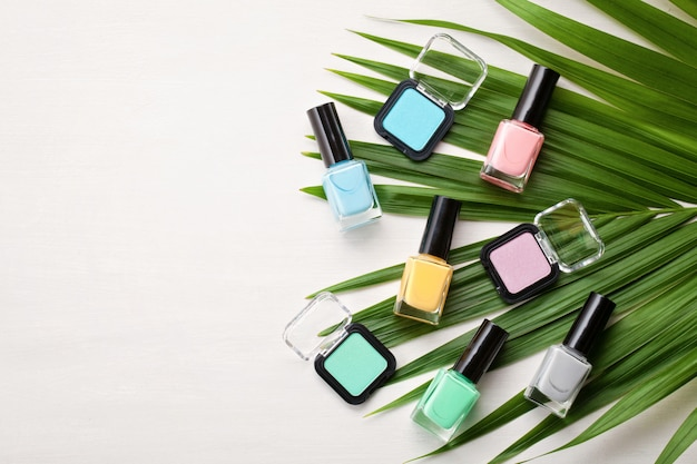 Pastel colors cosmetics. beauty blogger concept