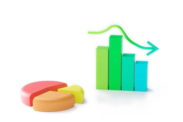 パステルカラー成長する棒グラフと円グラフ