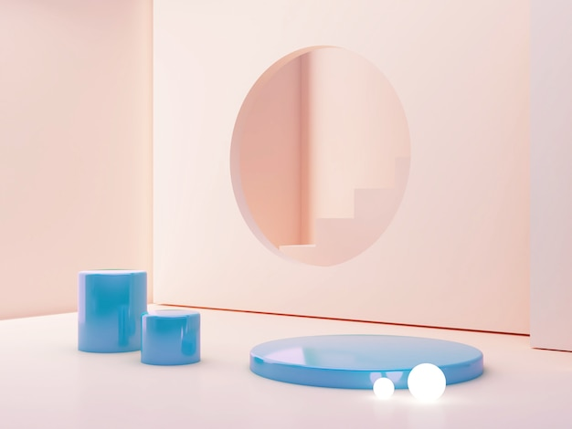 Pastel colors scene with geometrical forms and blue plastic cylinder podium.