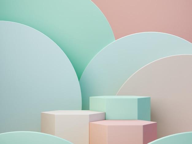 Пастельные цвета фигуры на зеленых пастельных тонах абстрактного фона. минимальные коробки подиума. сцена с геометрическими формами. пустая витрина для презентации косметической продукции. модный журнал. 3d визуализация.