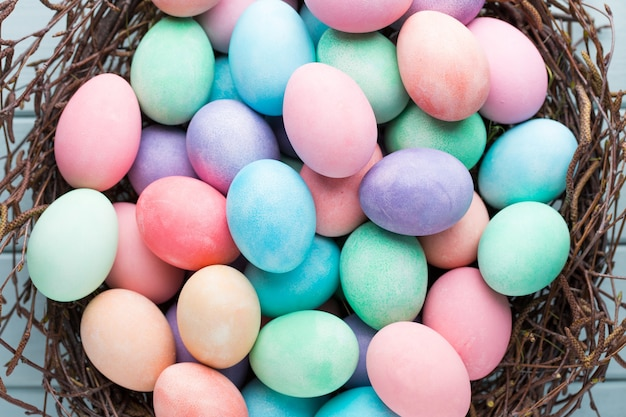 Pastel easter eggs. spring greeting card.