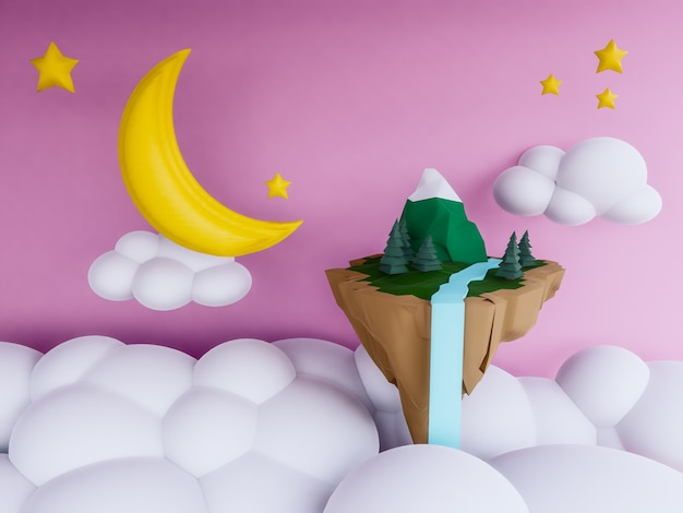 Pastel floating island with night background
