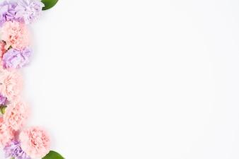 Pastel flowers framing one side