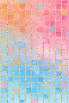Pastel grid background watercolor, grid pattern paper