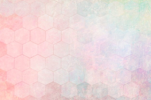パステル六角形パターン背景イラスト