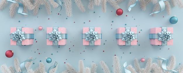 크리스마스 트리 선물 상자와 장식 파스텔 라일락 크리스마스 그림 구성 프리미엄 사진