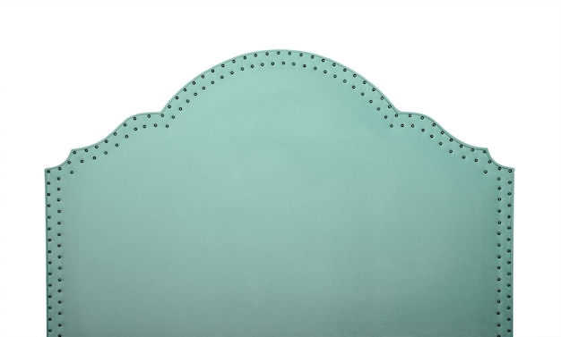 Pastel mint green soft velvet fabric shaped bed headboard isolated on white background, front view