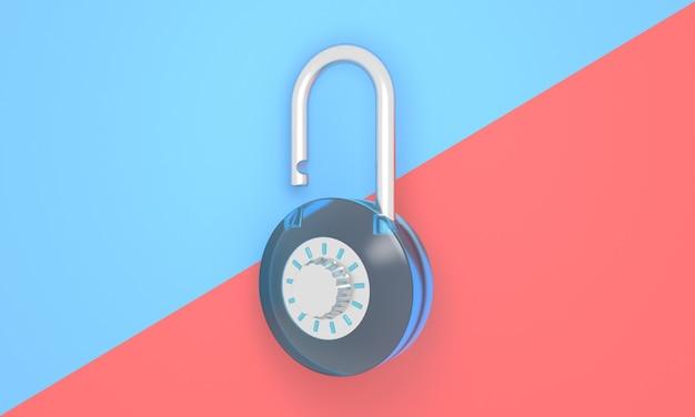 組み合わせた背景のミニマリストスタイルのパステルオープン南京錠セキュリティ安全ロック解除アイコンにアクセス