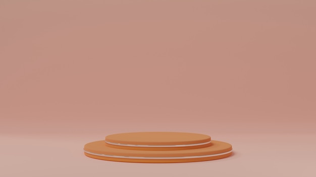 Pastel orange minimal round geometric stage podium display decoration, cute backdrop, 3d rendering