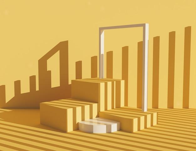 파스텔 오렌지 제품 스탠드에는 큐브와 작은 기둥으로 음영 처리 된 프레임이 있습니다. 3d 렌더링