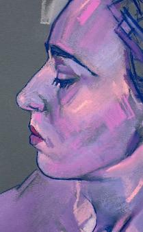 파스텔 페인팅 여성 초상화 수제