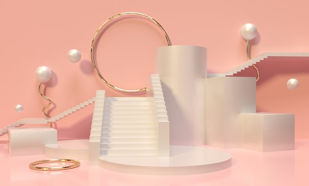 분홍색 배경에 파스텔 받침대, 계단, 선반 및 틈새 시장
