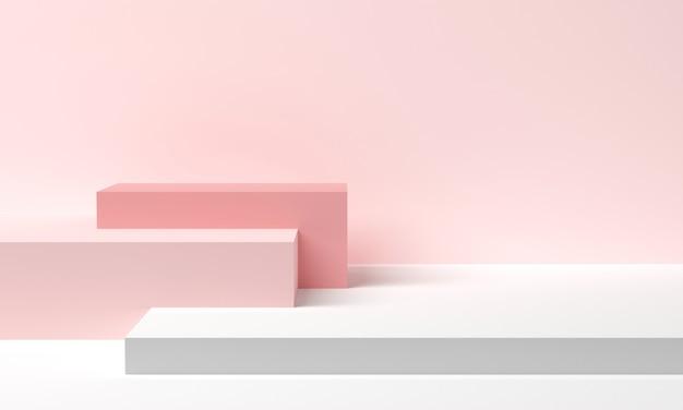 파스텔 핑크와 흰색 추상적인 기하학적 모양입니다. 최소한의 스타일. 3d 렌더링