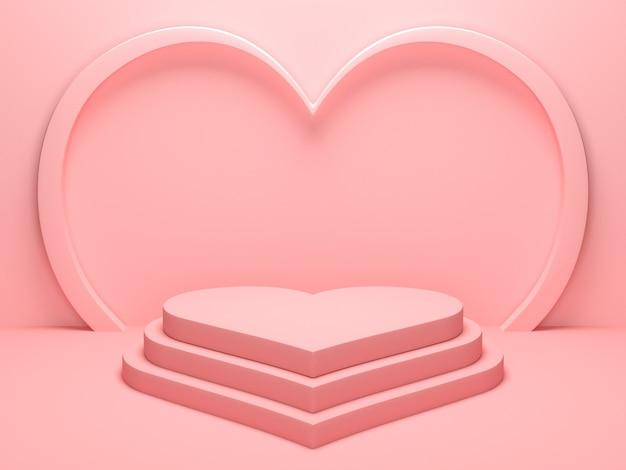 제품 디스플레이 스탠드 또는 다른 디자인에 사용되는 파스텔 핑크 하트 모양의 연단 무대 배경. 3d 렌더링