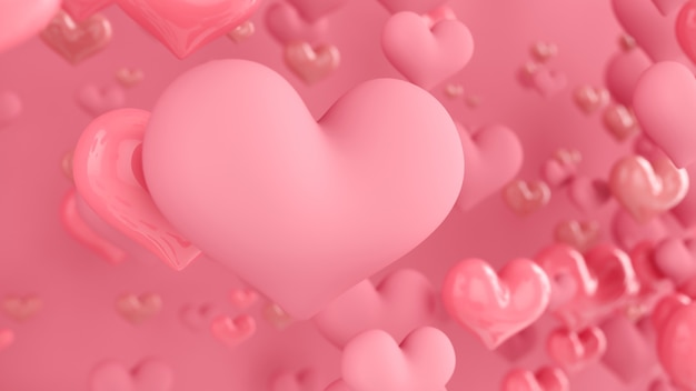 Pastel pink hearts. abstract background with hearts. greeting card, poster. valentine day. 3d rendering.