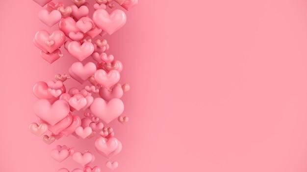 파스텔 핑크 하트. 마음으로 추상적 인 배경입니다.