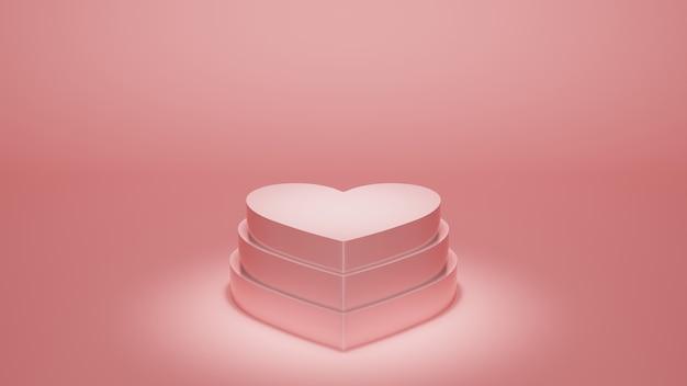 パステルピンクの愛の形をした製品ディスプレイスタンドミニマリストシンプルな表彰台ステージの背景