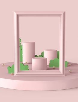 Пастельно-розовый подиум и экспозиция для выставочной продукции