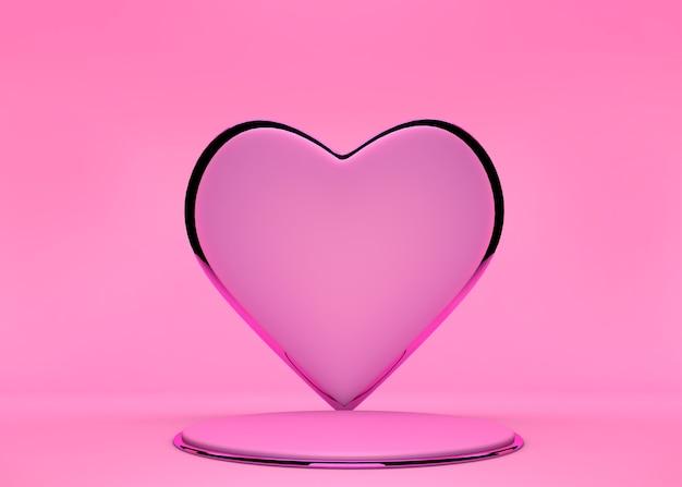 제품 디스플레이 스탠드 또는 다른 디자인에 사용되는 파스텔 핑크 연단 무대 및 달콤한 하트 모양 배경