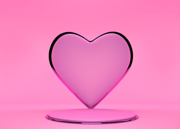 Pastel pink podium stage and sweet heart shape backdrop for product display stand or used in other designs