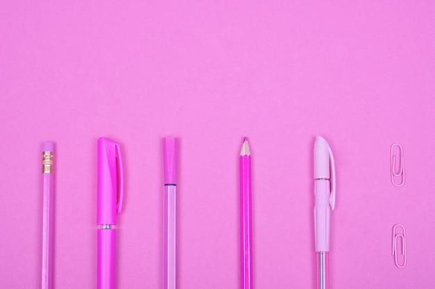Pastel pink school supplies
