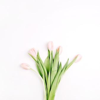 パステル ピンクのチューリップの花の花束は、白い背景で隔離。フラットレイ、トップビュー
