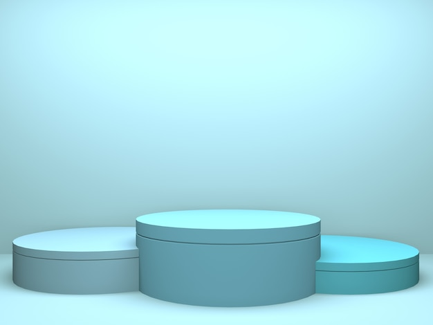 Pastel podium circle geometry blue room interior product mockup background